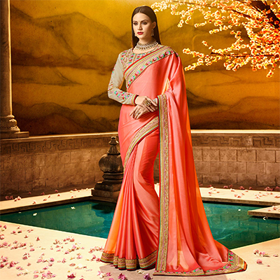Amazing Peach Colored Partywear Embroidered Rangoli Silk Saree