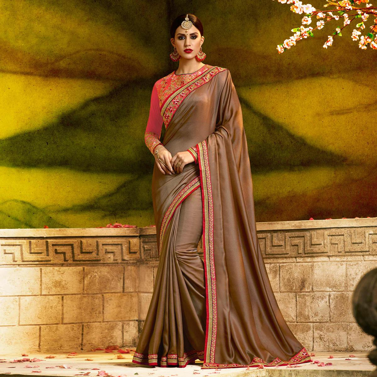 Mesmerising Brown Colored Partywear Embroidered Barfi Silk Saree