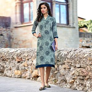 Pretty Grey Colored Printed Cotton Kurti