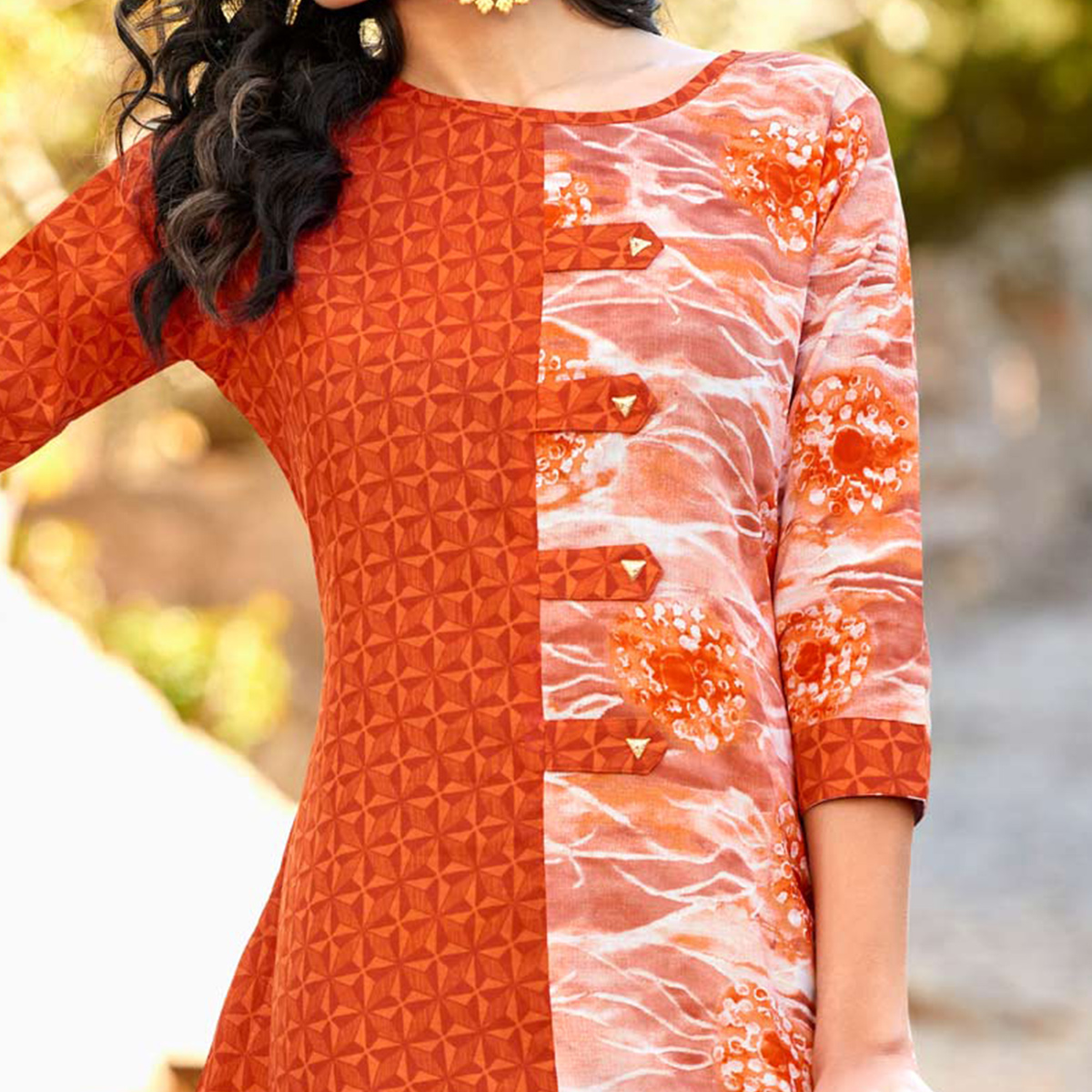 Classy Orange Colored  Printed Cotton Kurti