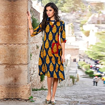 Lovely Navy Blue-Yellow Colored  Printed Cotton Kurti