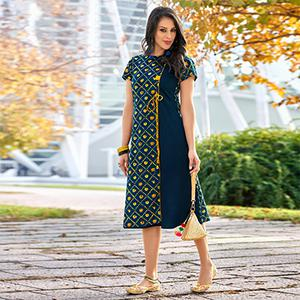 Charming Navy Blue Colored  Printed Cotton Kurti