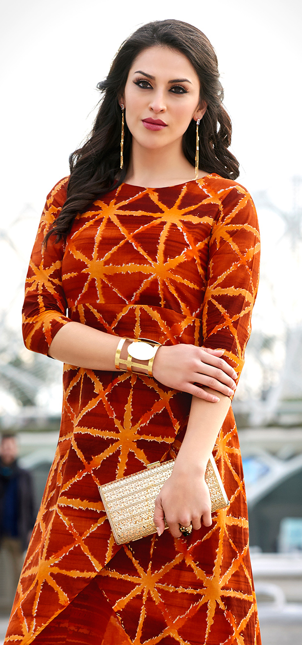 Classy Shaded Orange Colored Casual Wear Printed Cotton Kurti