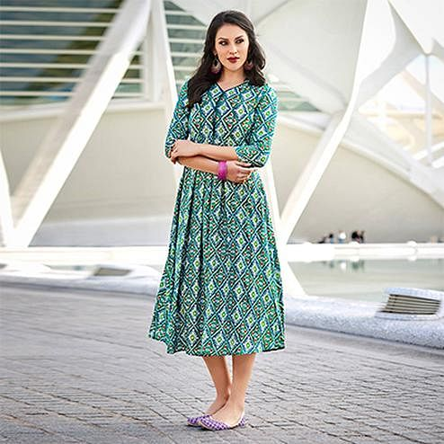 Precious Green-Blue Colored Casual Wear Printed Cotton Kurti
