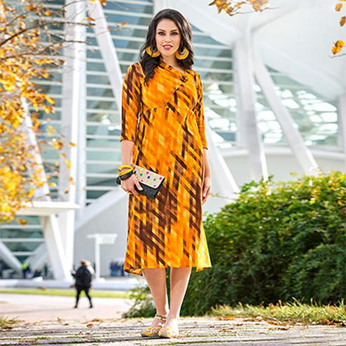Preferable Orange-Brown Colored Casual Wear Printed Cotton Kurti