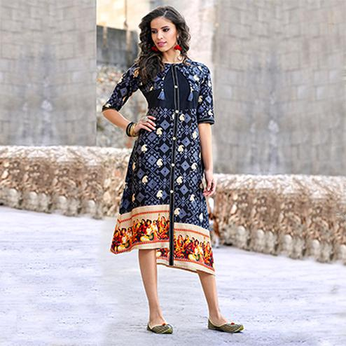 Stunning Navy Blue Colored Casual Wear Printed Cotton Kurti