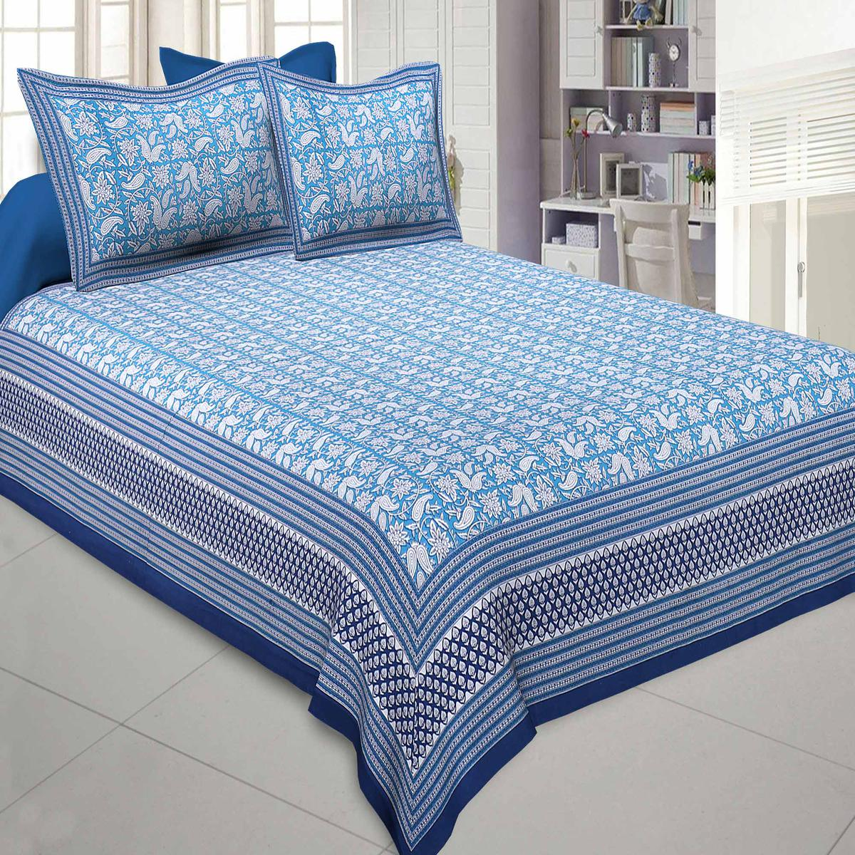Jaipur Fabric Floret Kingdom Blue Double Bedsheet With 2 Pillow Covers