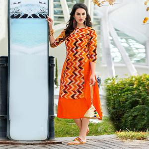 Blooming Orange Colored Casual Wear Printed Cotton Kurti