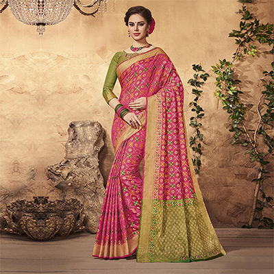 Marvellous Pink Colored Festive Wear Patola Silk Saree