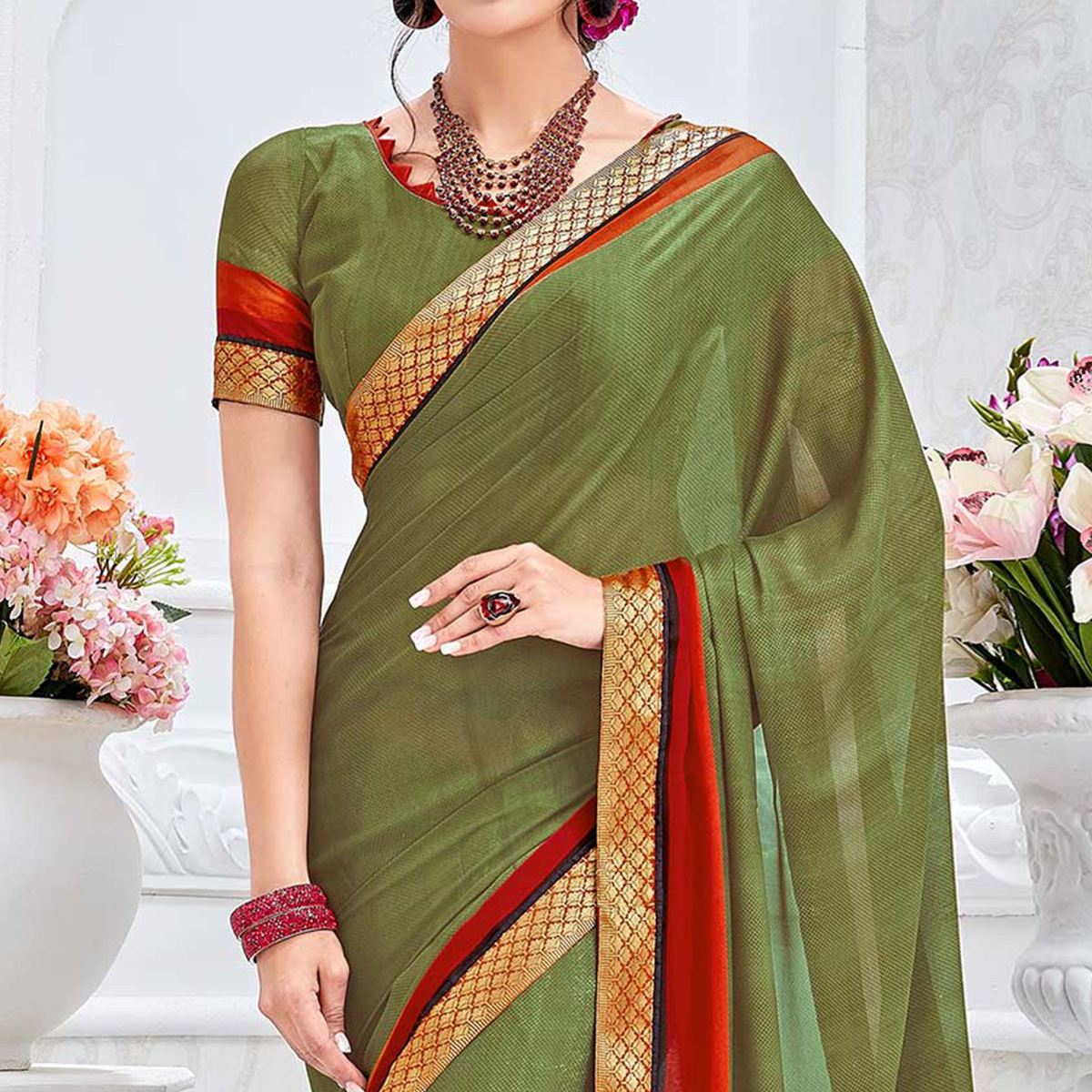 Olive Green Casual Wear Viscose Saree