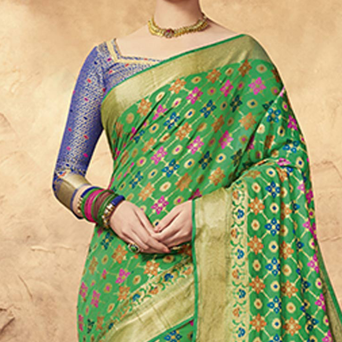 Delightful Green Colored Festive Wear Patola Silk Saree