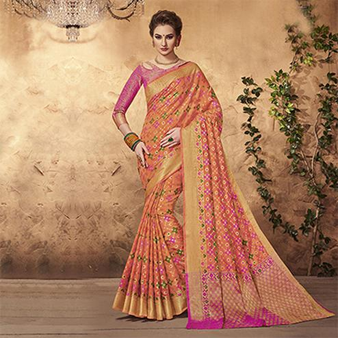 Glorious Peach Colored Festive Wear Patola Silk Saree