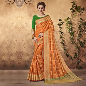 Glowing Orange Colored Festive Wear Patola Silk Saree
