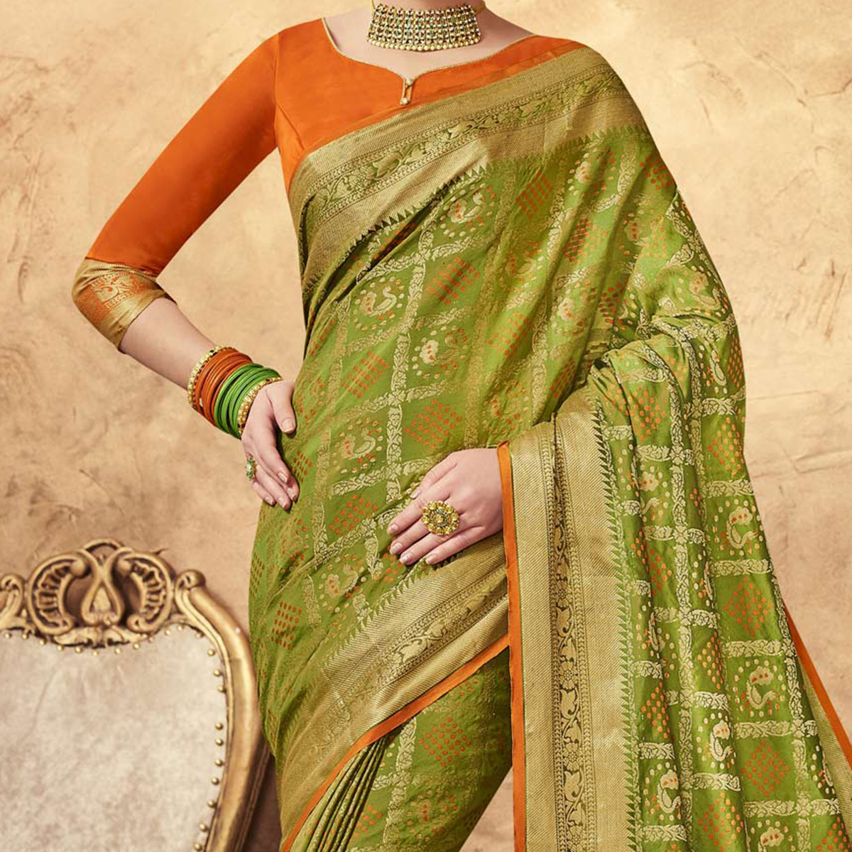 Capricious Green Colored Festive Wear Patola Silk Saree