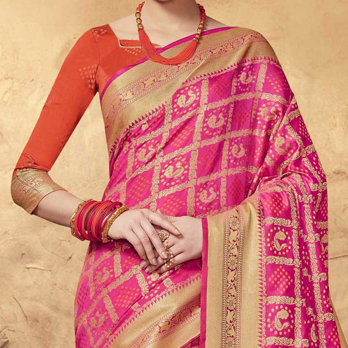 Snazzy Pink Colored Festive Wear Patola Silk Saree