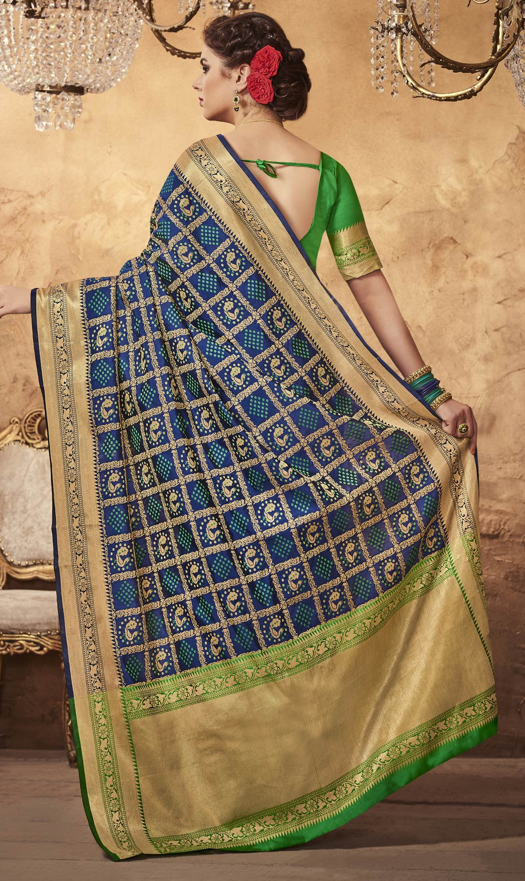 Awesome Blue Colored Festive Wear Patola Silk Saree
