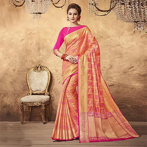 Precious Peach Colored Festive Wear Patola Silk Saree
