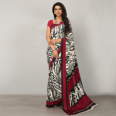 White-Black Casual Wear Printed Crape Saree