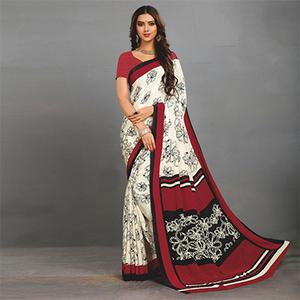 White-Maroon Casual Wear Printed Crape Saree