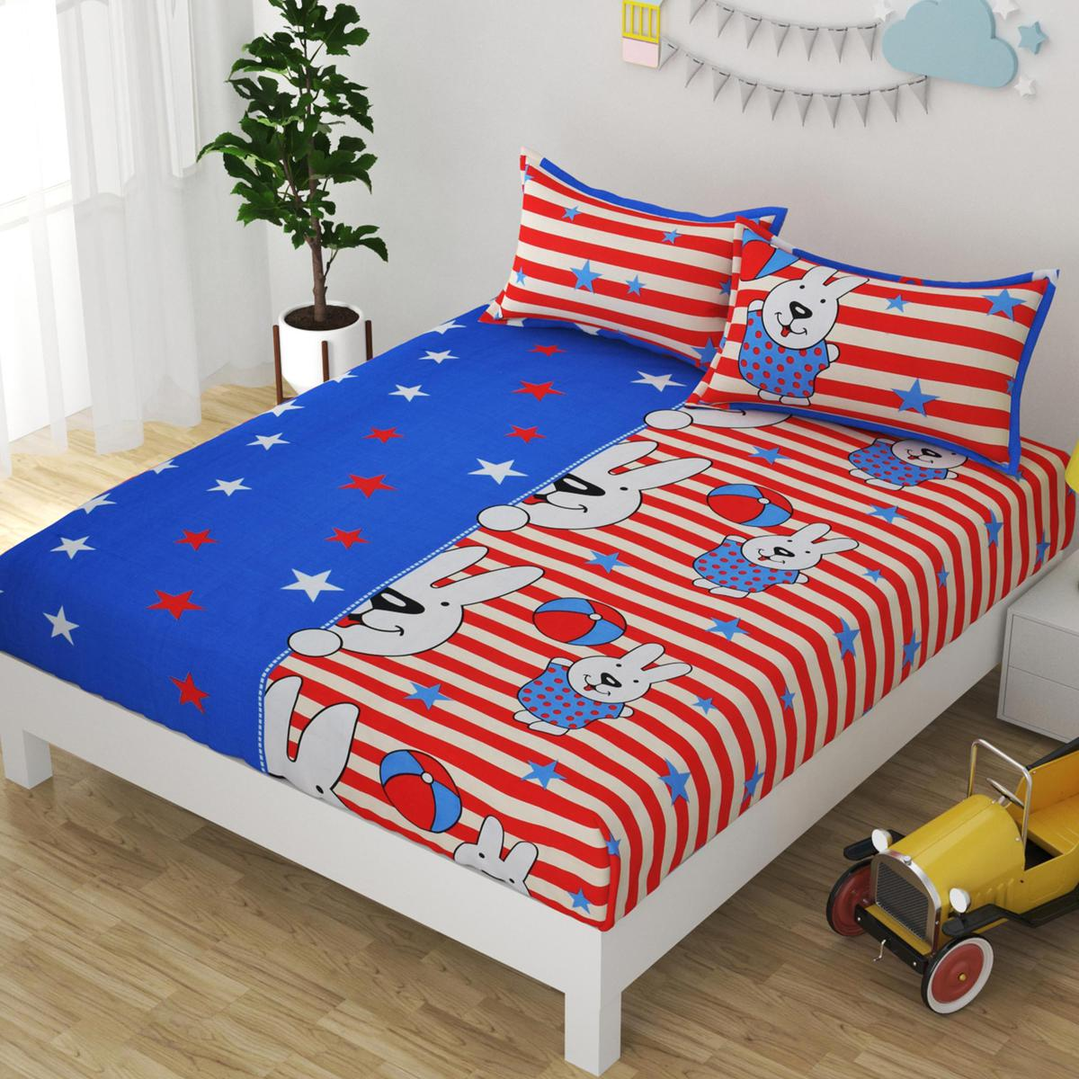 Adirav - Attractive Blue Red Multi Glace Cotton Printed Double Bedsheet With Two Pillow Cover