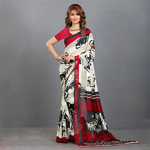 White-Red Casual Wear Printed Crape Saree