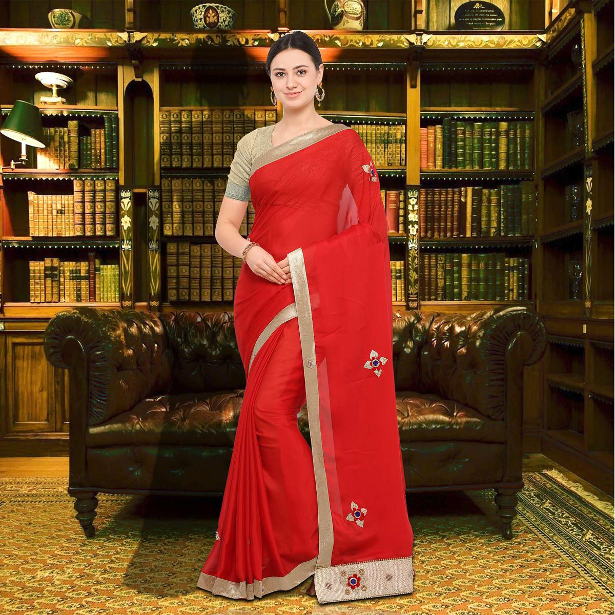 Elegant Red Colored Party Wear Georgette Saree