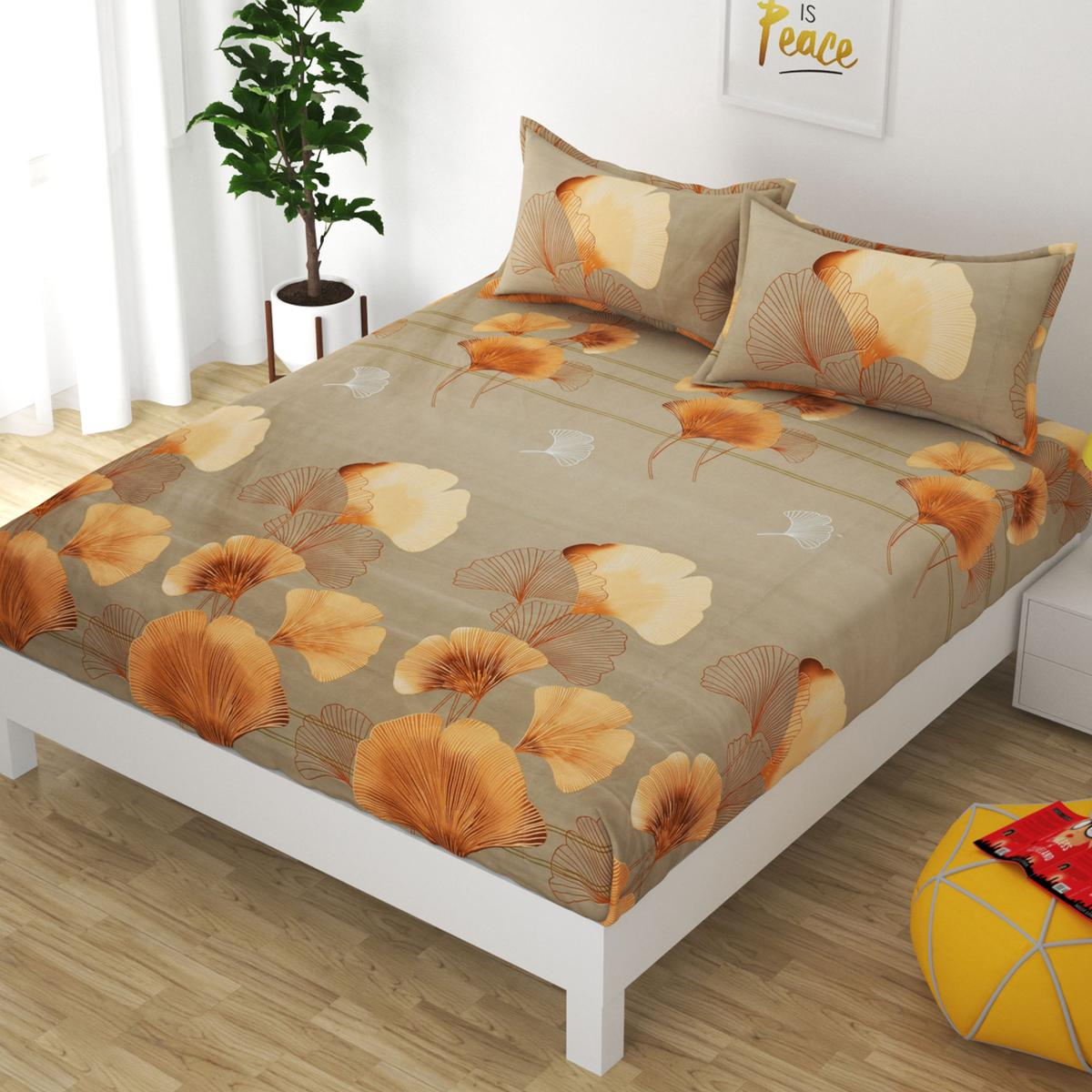 Adirav - Attractive Beige King Size Glace Cotton Fitted Bedsheet With Two Pillow Cover