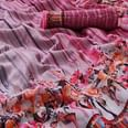 Off-White-Pink Casual Wear Floral Digital Printed Linen Saree
