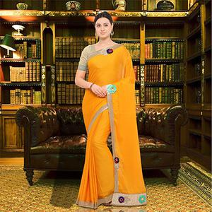 Deserving Yellow Colored Party Wear Georgette Saree