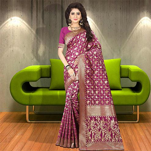 Majesty Magenta Colored Woven Festive Wear Silk Saree