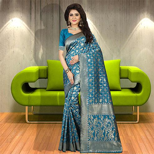Impressive Firozi Colored Woven Festive Wear Silk Saree