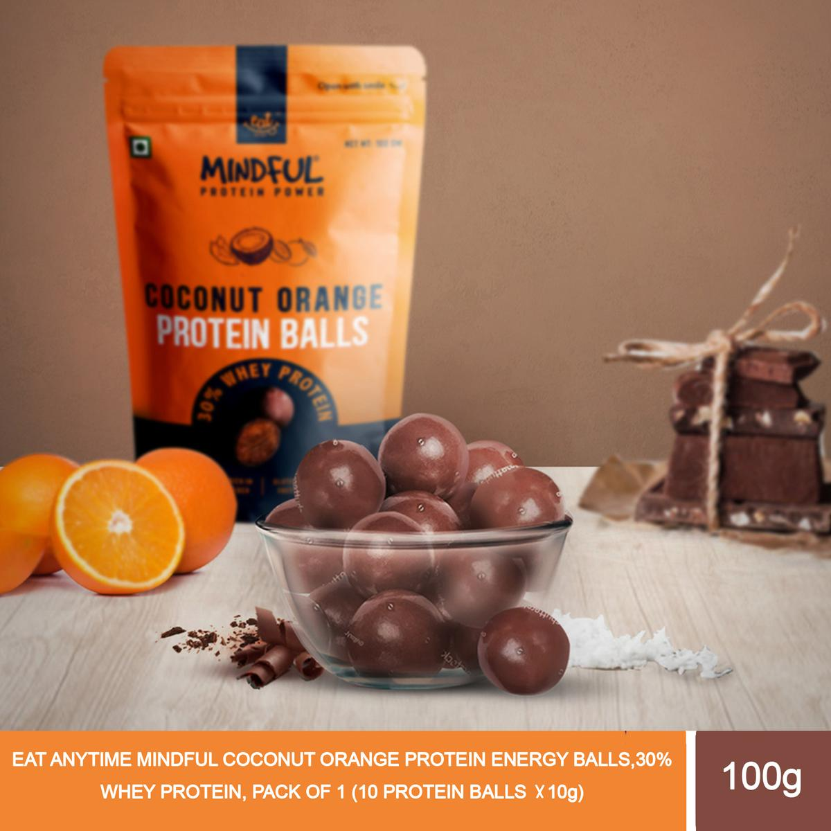 EAT Anytime Mindful Coconut Orange Protein Energy Balls, 30% Whey Protein, Pack Of 1 - 100G (10 Protein Balls X 10G)
