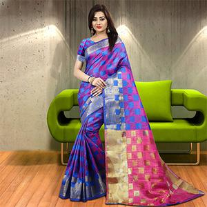 Ethnic Blue-Violet Colored Woven Festive Wear Silk Saree