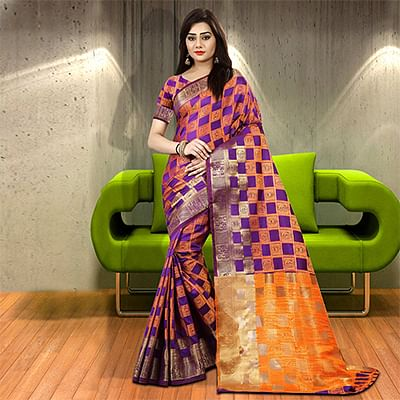 Catchy Purple-Orange Colored Woven Festive Wear Silk Saree