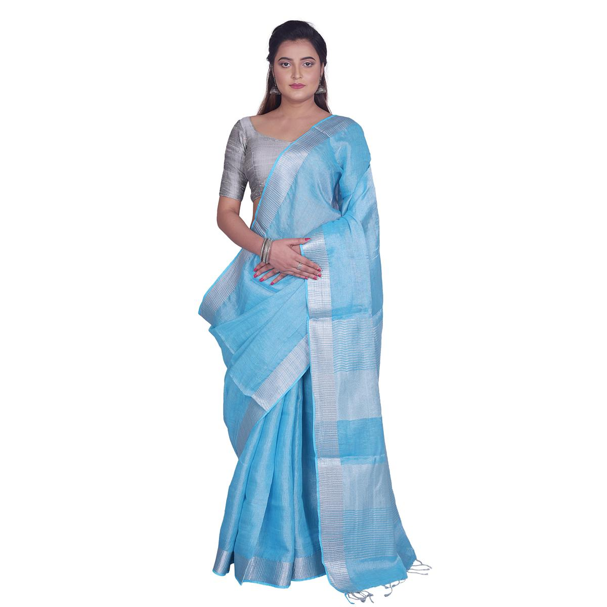Kihums - Blue Hand Woven Linen Saree With Zari Border And Blouse Piece