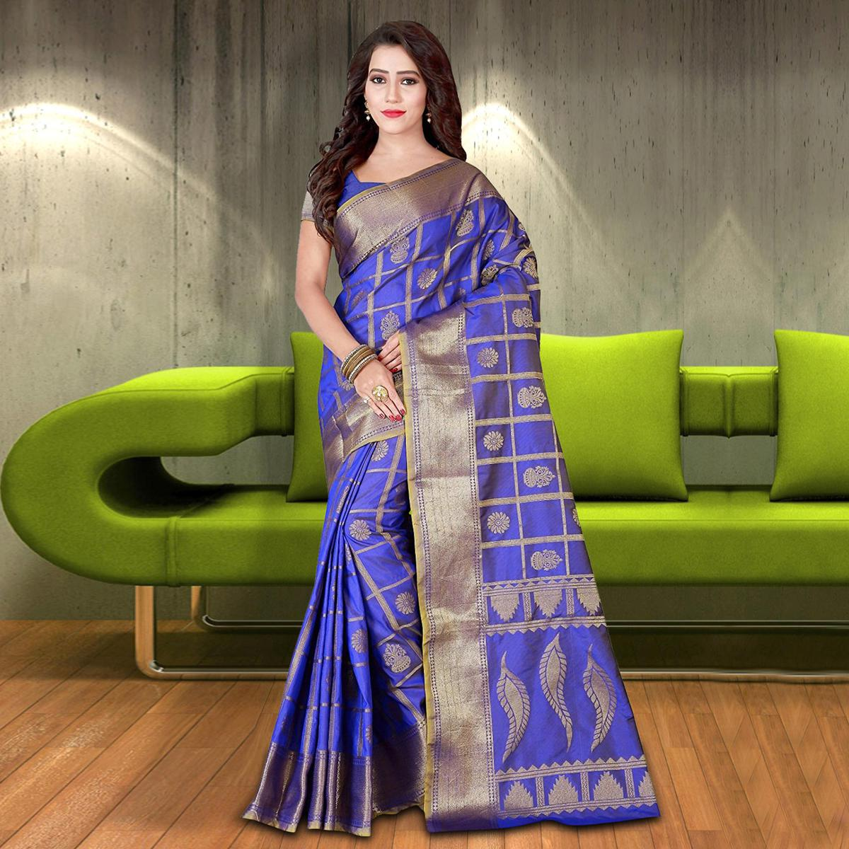 Elegant Blue Colored Woven Festive Wear Silk Saree