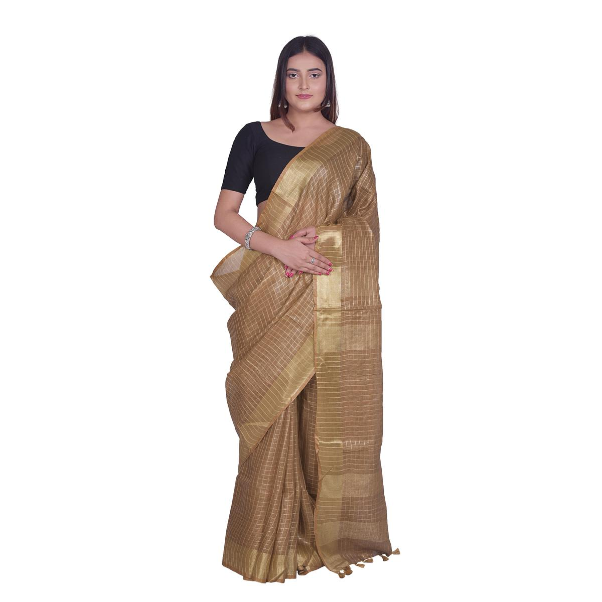 Kihums - Brown Hand Woven Tussar Silk Saree With Blouse Piece