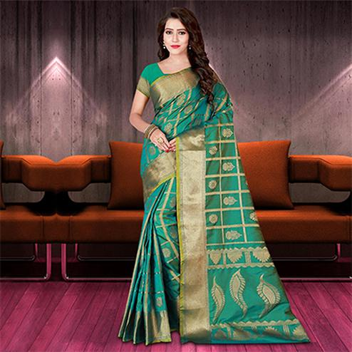 Sensational Rama Green Colored Woven Festive Wear Silk Saree