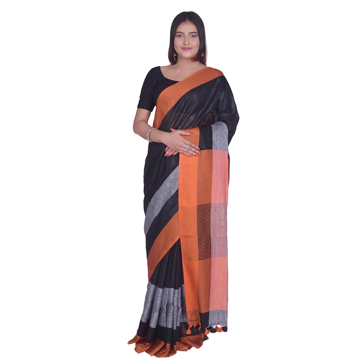 Kihums - Black Hand Woven Linen Saree With Zari Border And Blouse Piece