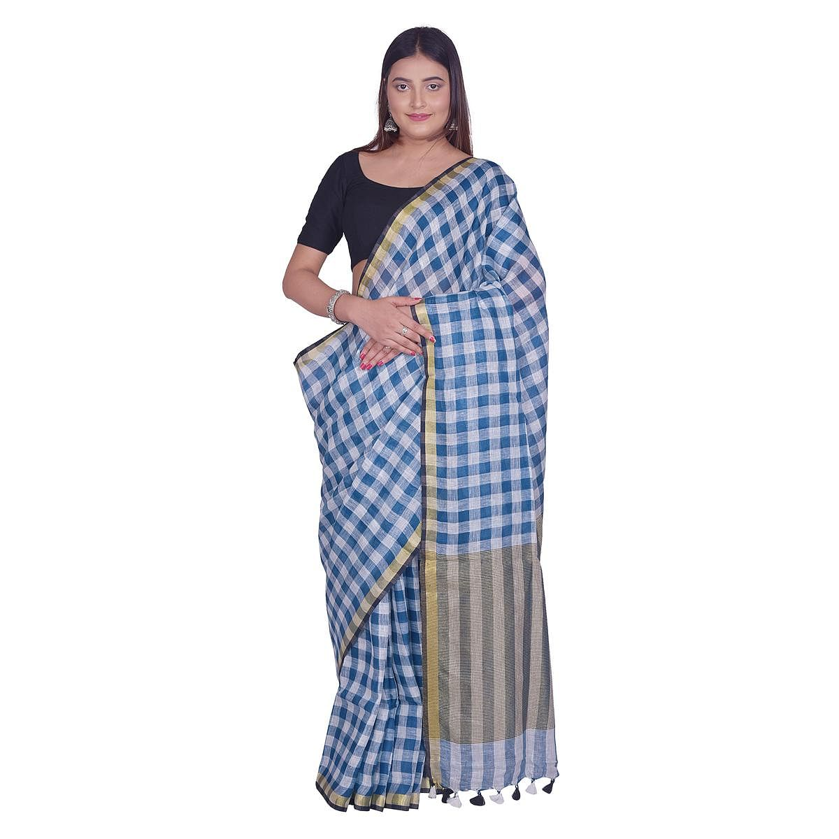Kihums - Blue and white Hand Woven Tussar Silk Saree With Blouse Piece