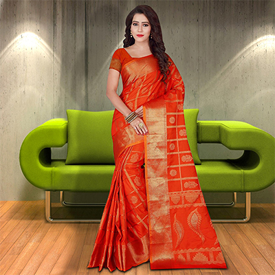 Glorious Dark Orange Colored Woven Festive Wear Silk Saree