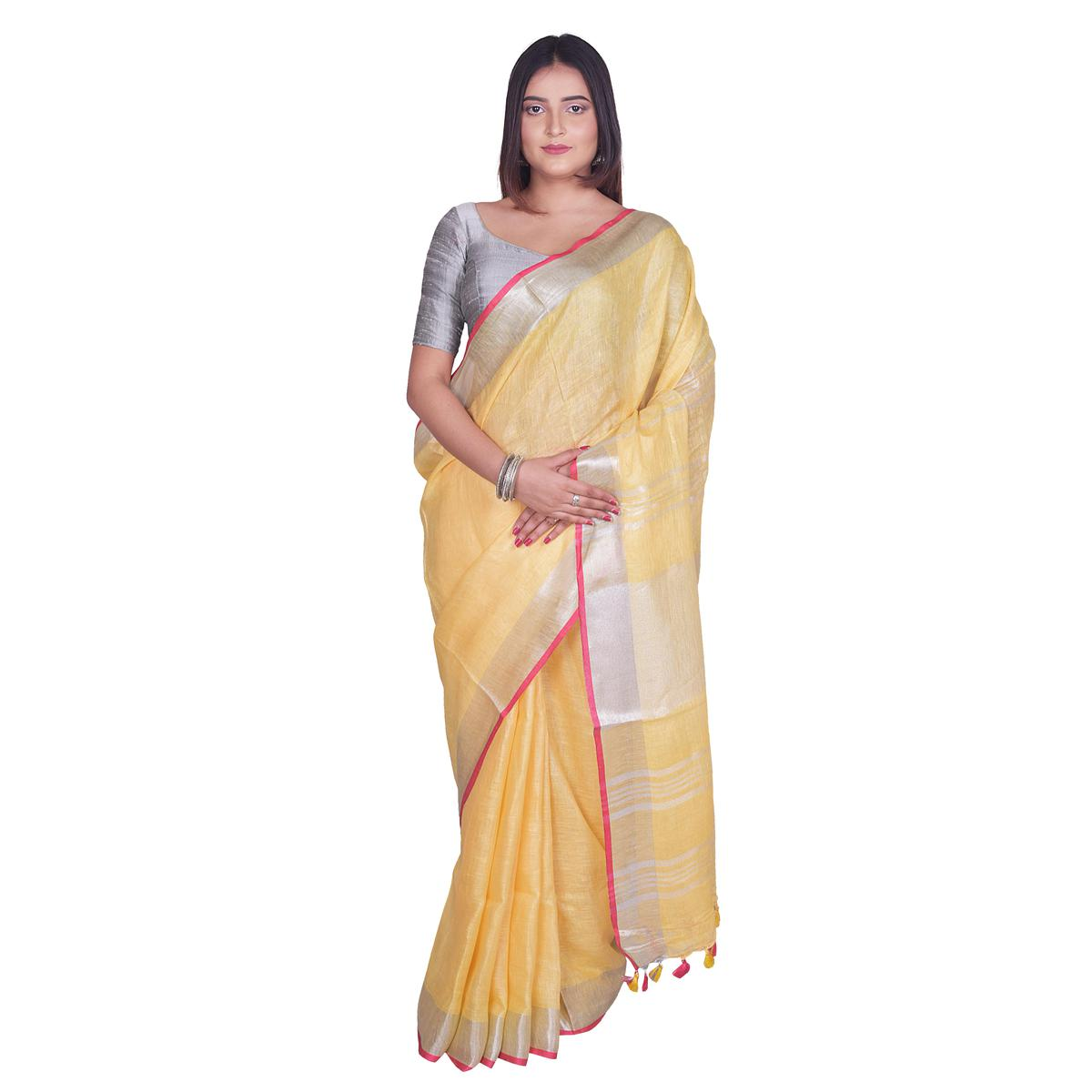Kihums - Yellow Hand Woven Linen Saree With Zari Border And Blouse Piece