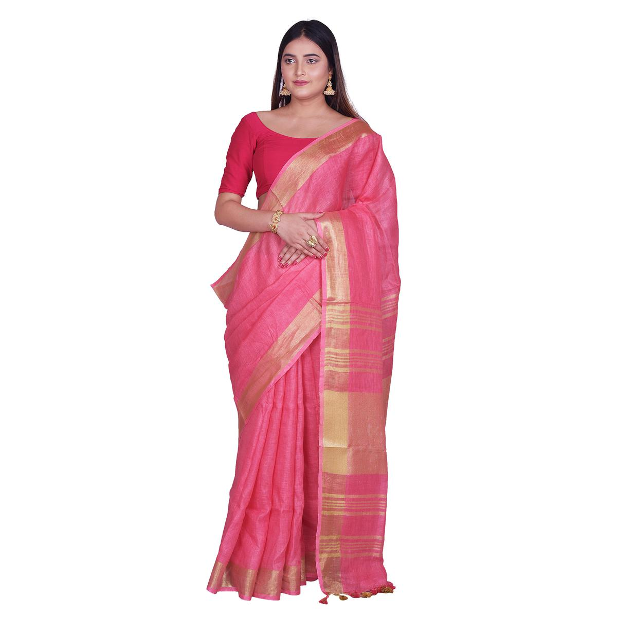 Kihums - Pink Hand Woven Linen Saree With Zari Border And Blouse Piece