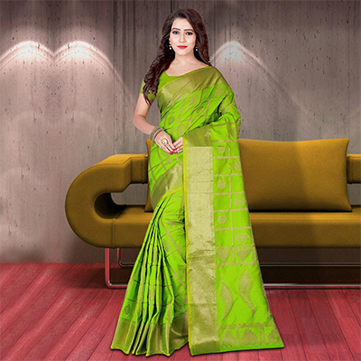 Perfect Light Green Colored Woven Festive Wear Silk Saree