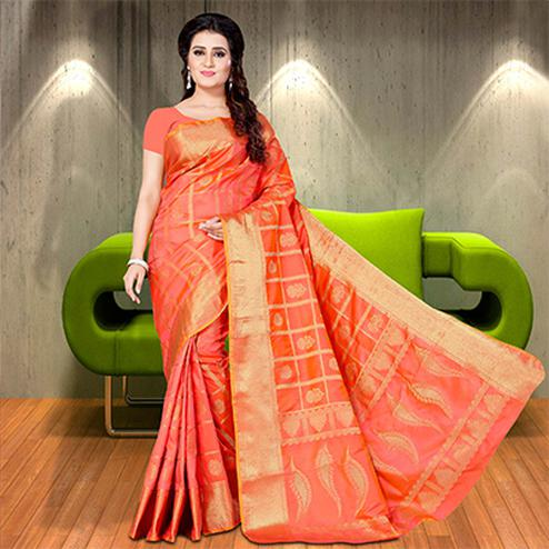 Exceptional Peach Colored Woven Festive Wear Silk Saree