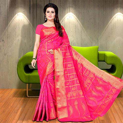 Rich Deep Pink Colored Woven Festive Wear Silk Saree
