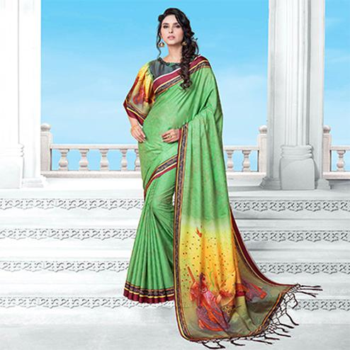 Pista Green Casual Wear Printed Manipuri Silk Saree