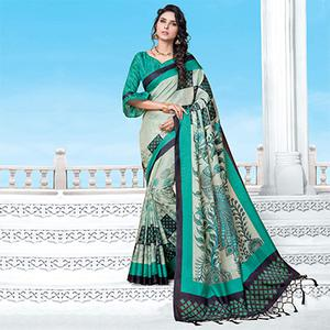 Offwhite-Turquoise Casual Wear Printed Manipuri Silk Saree