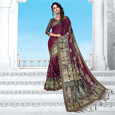 Wine Casual Wear Printed Manipuri Silk Saree
