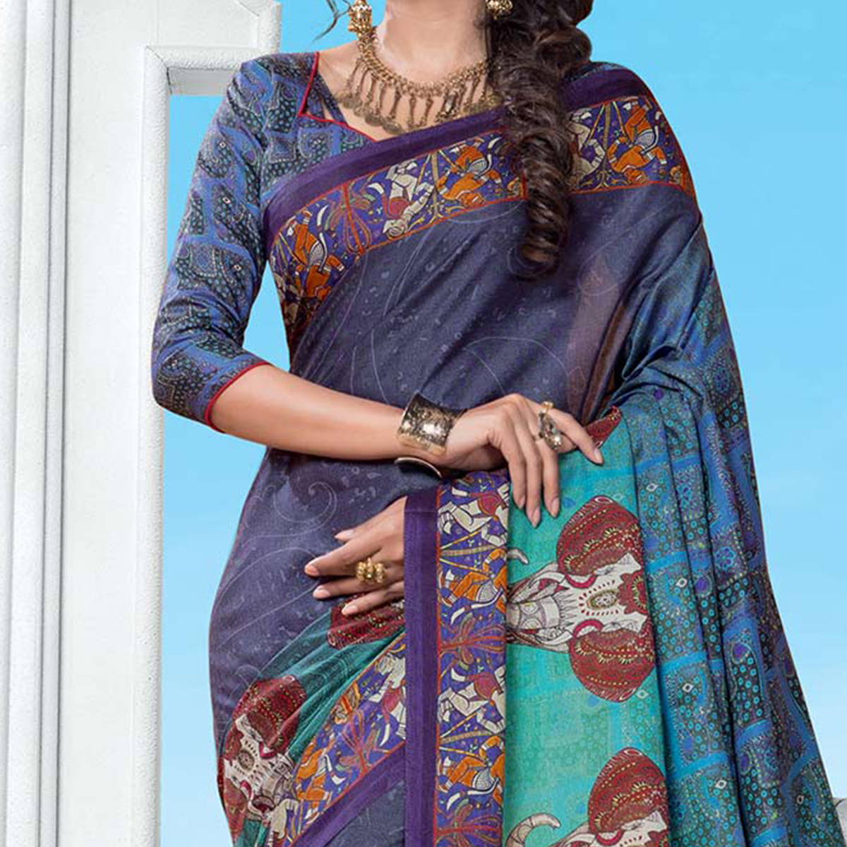Blue Casual Wear Printed Manipuri Silk Saree